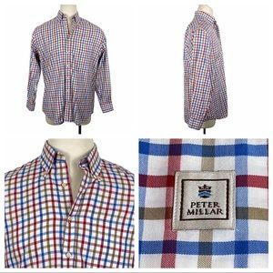 ExcCond Peter Millar Plaid Long Sleeve Shirt Lg